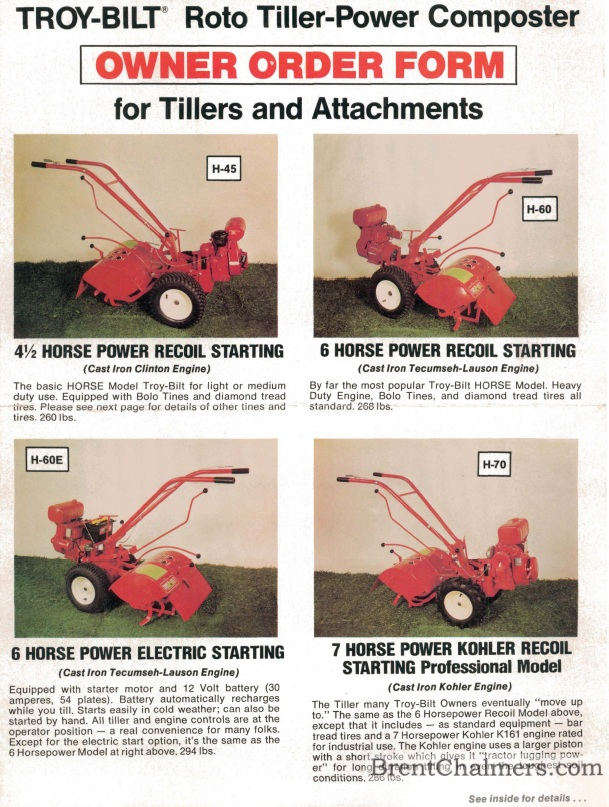 1976 Troy Bilt Owner Order Form Roto Tiller Power Composter For Tillers And  Attachments (6 Pages)