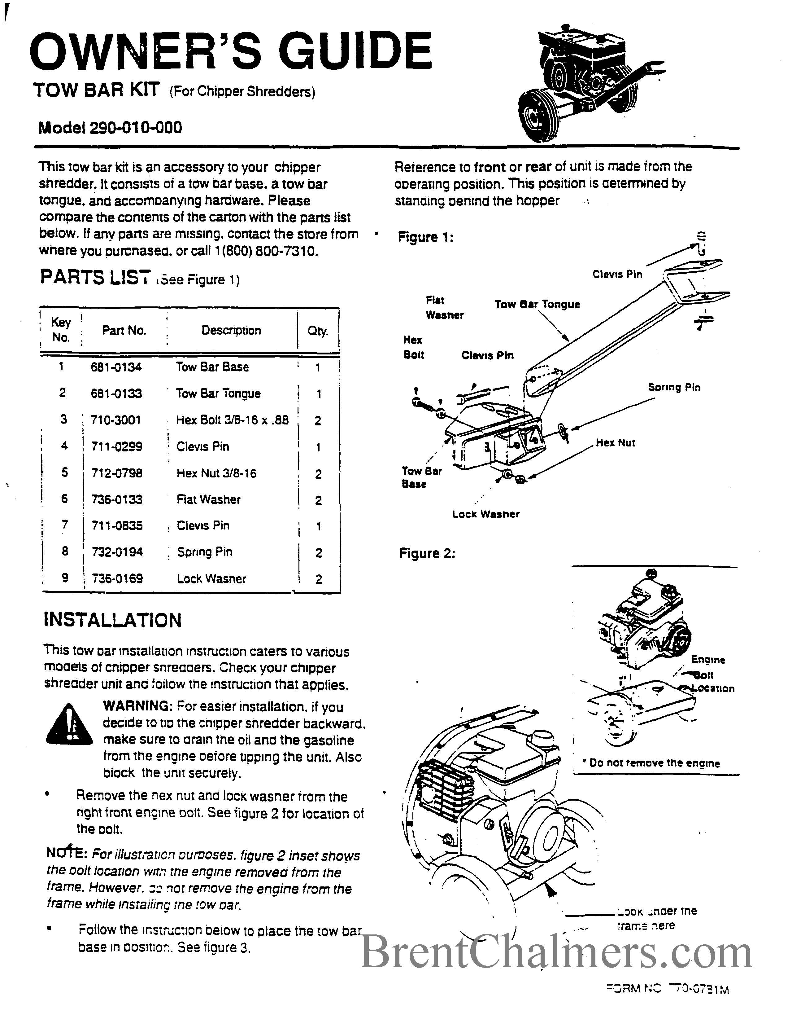 Troy-Bilt Model 290-010-000 Tow Bar Kit Owner's Guide (2 Pages)