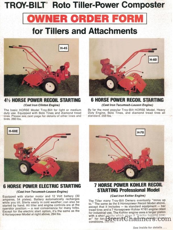 1976 Troy Bilt Owner Order Form Roto Tiller Composter For Tillers And Attachments 6 Pages