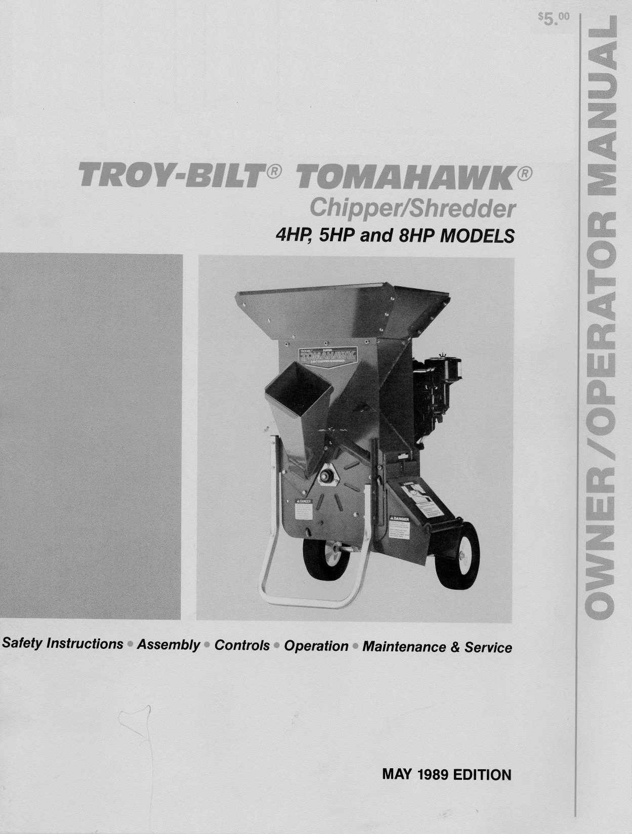 1989 Troy Bilt Tomahawk Chipper Shredder 40 Pages