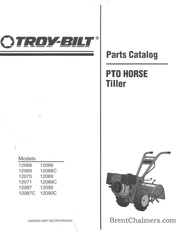 1996 Troy Bilt Parts Catalog 12068 12069 12070 12071 12087 12088 12089 12090 Models Pto Horse Tiller 28 Pages